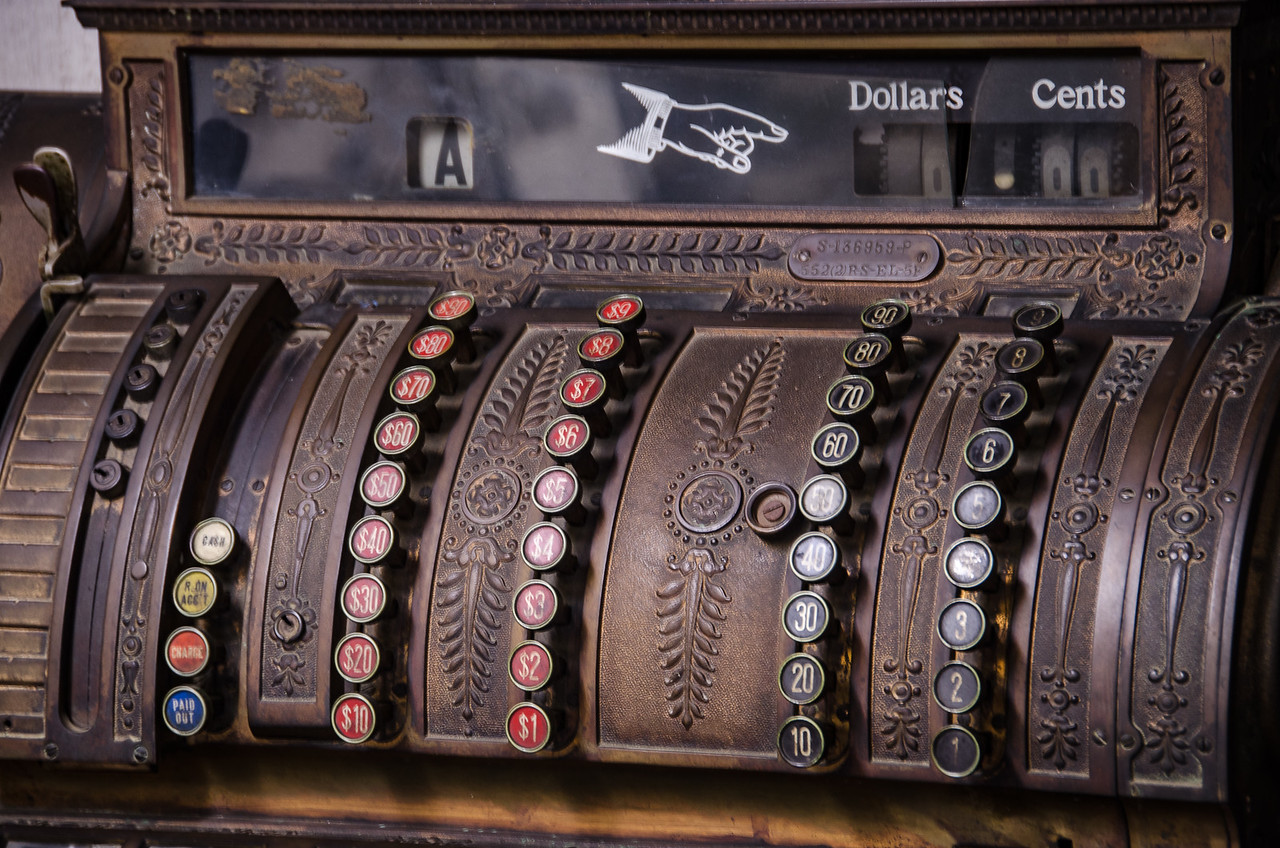 Large ornately carved wooden cash register