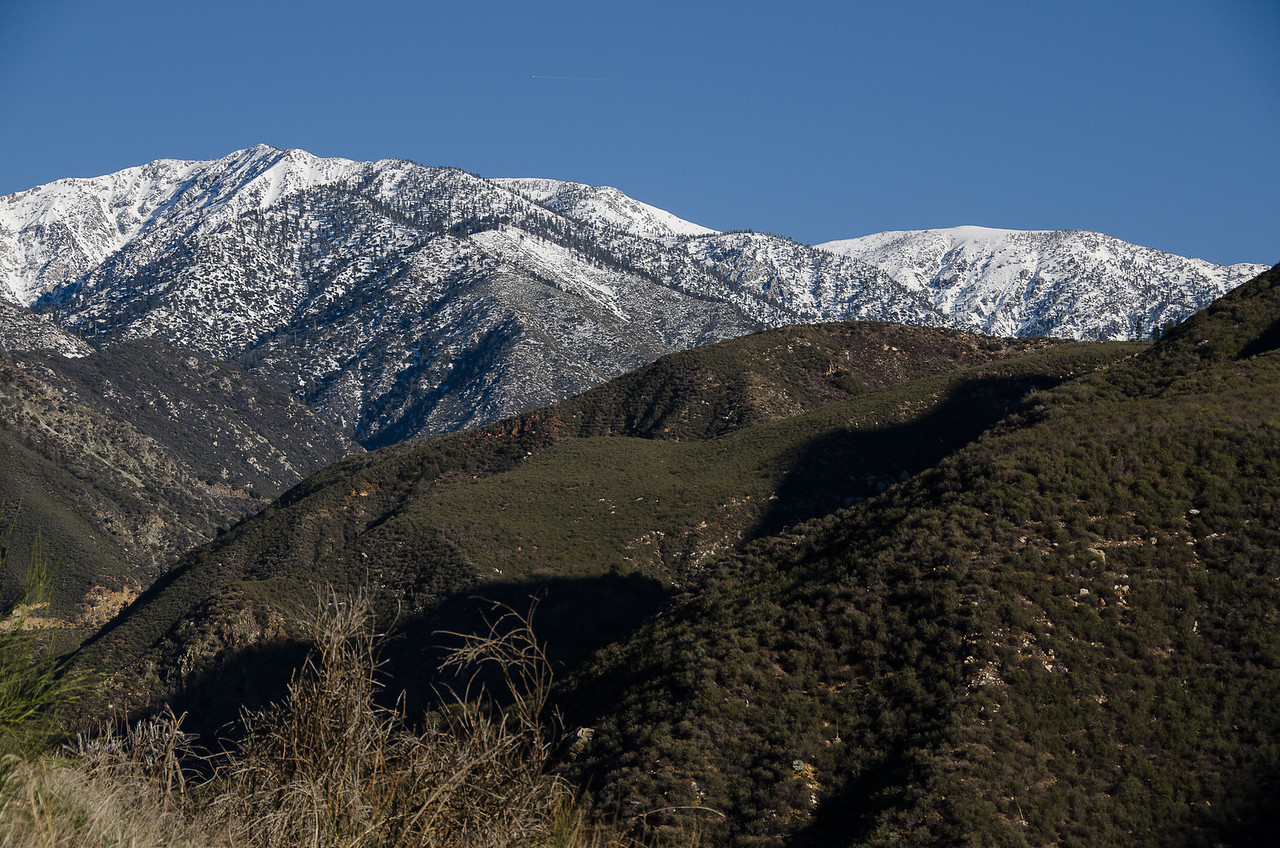 Snow covered peak of Mt San Antonio, otherwise called Mt. Baldy